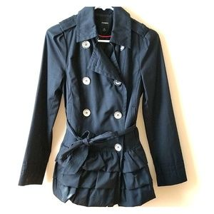 Express Black Trench Coat with Ruffles